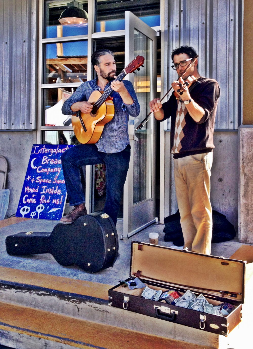 Musicians at the market in Santa Fe Double-Barrelled Travel