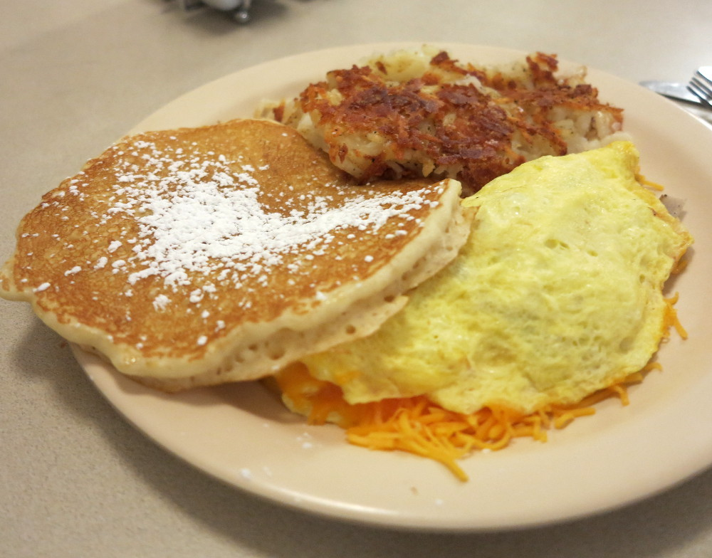 Pancakes and omelette from Poolside Grill at Glenwood Hot Springs Double-Barrelled Travel