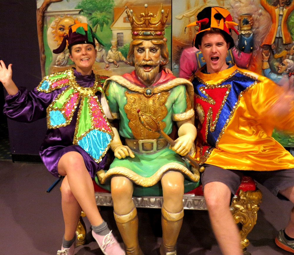 Wearing costumes at Mardi Gras World New Orleans Double-Barrelled Travel