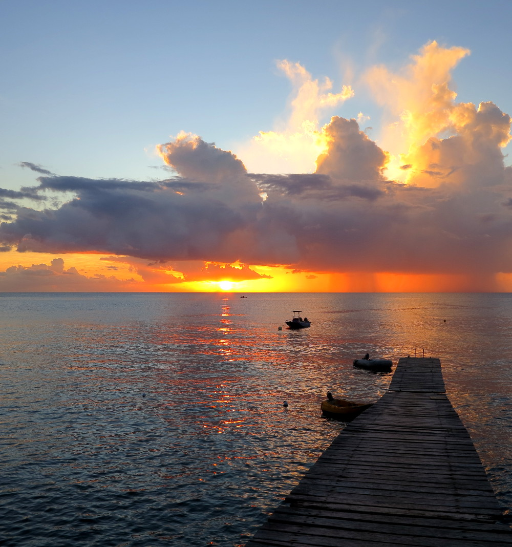 Al Dive jetty sunset Dominica Double-Barrelled Travel