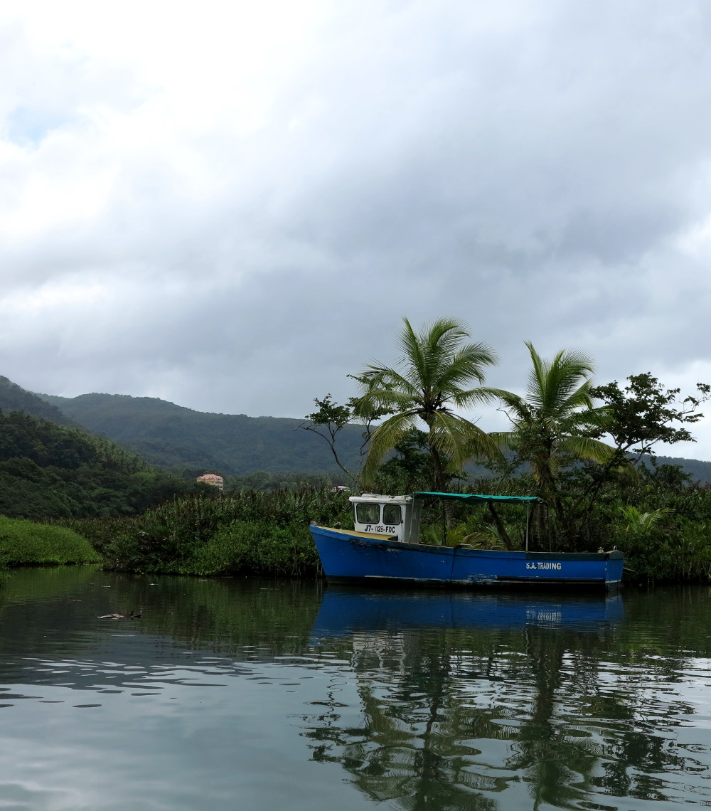 Boat on the Indian River Dominica Double-Barrelled Travel