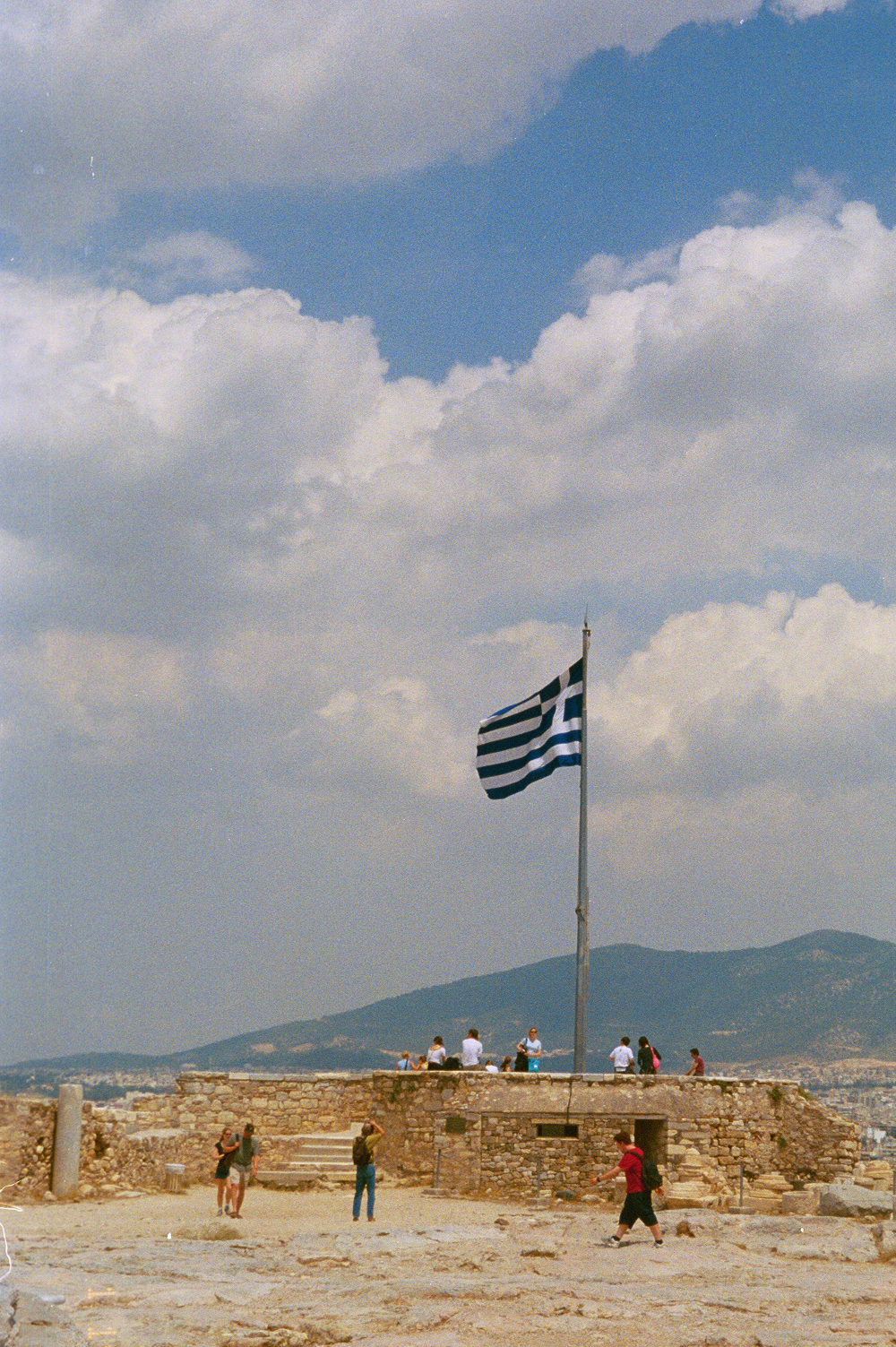 Greek flag in Athens Double-Barrelled Travel