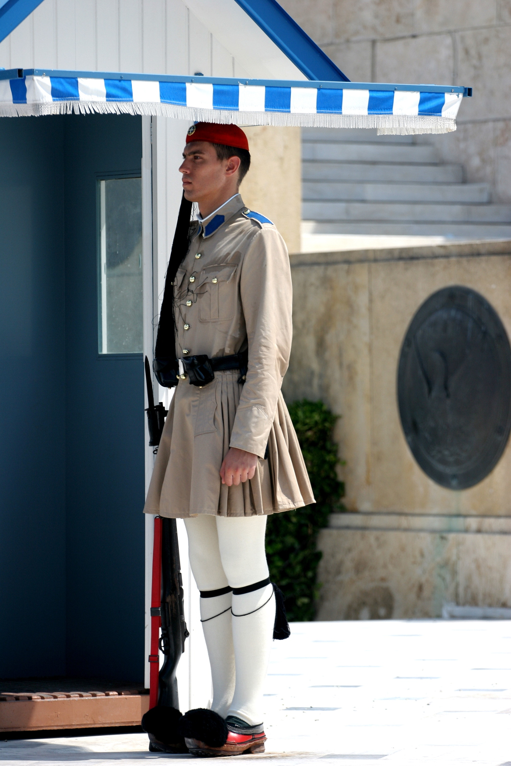 Greek solider outside Athens Parliament Double-Barrelled Travel