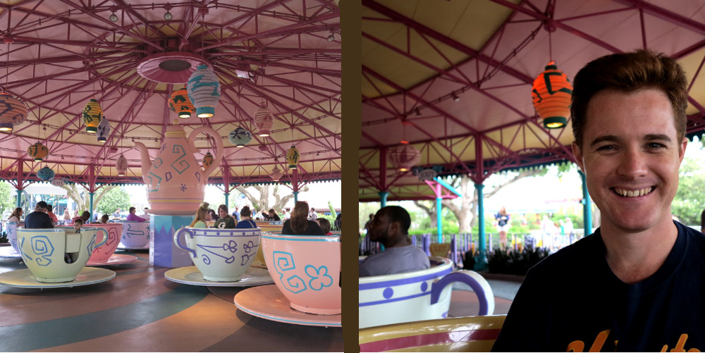 Riding the teacups Disney Double-Barrelled Travel