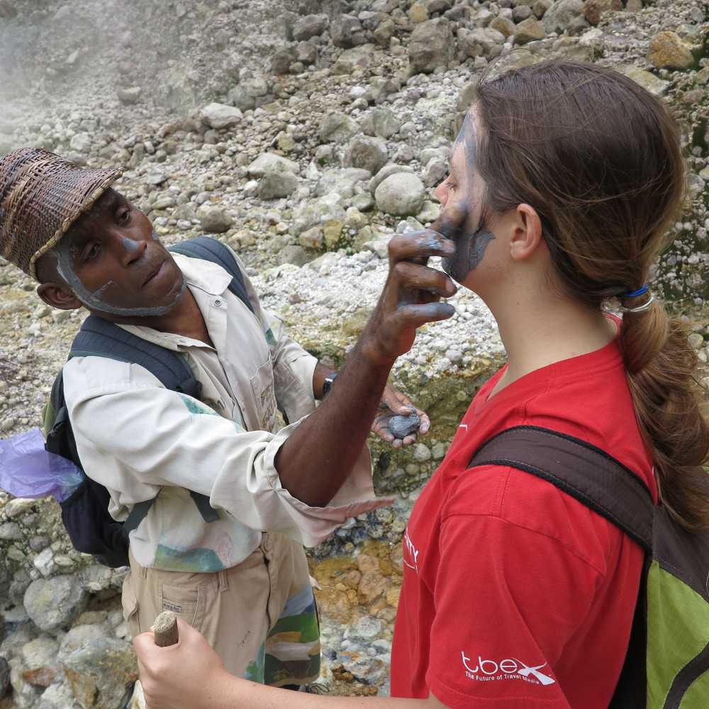 Volcanic mud face painting Boiling Lake Dominica Double-Barrelled Travel