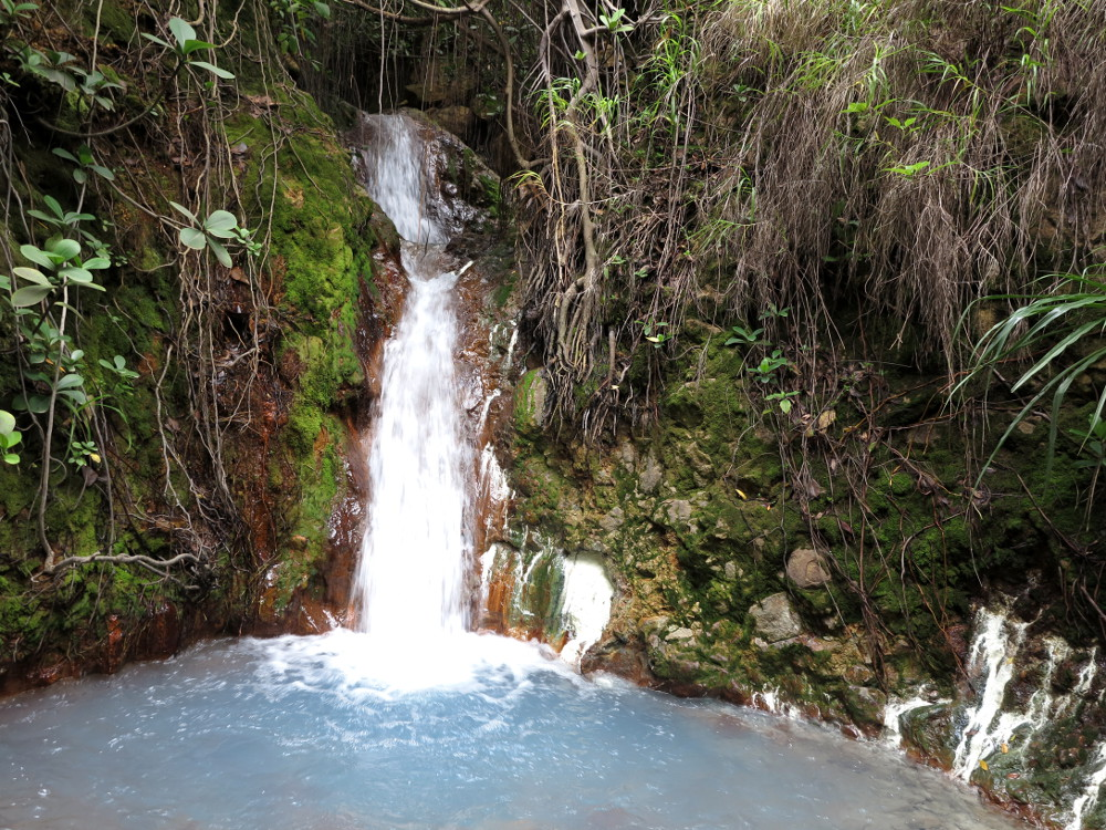 Waterfall coming into hot spring Boiling Lake Dominica Double-Barrelled Travel