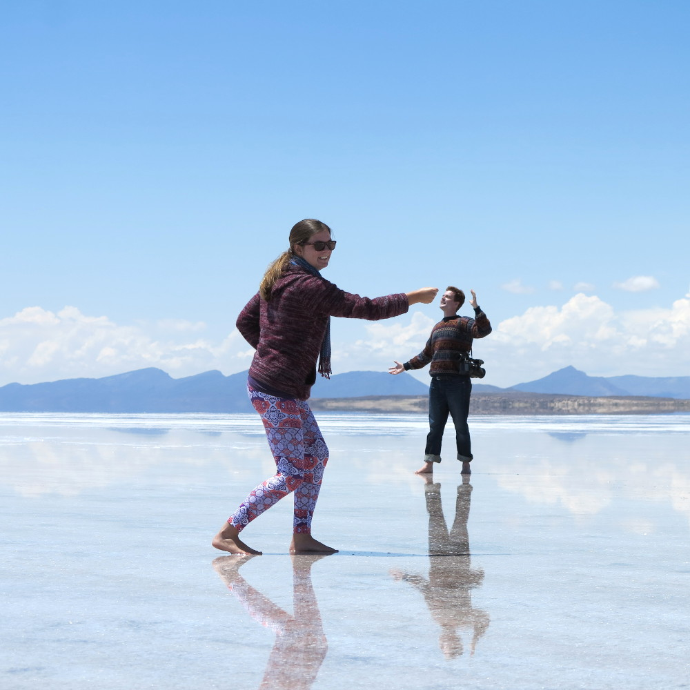 Carmen and Dave Salt flats Bolivia Double-Barrelled Travel