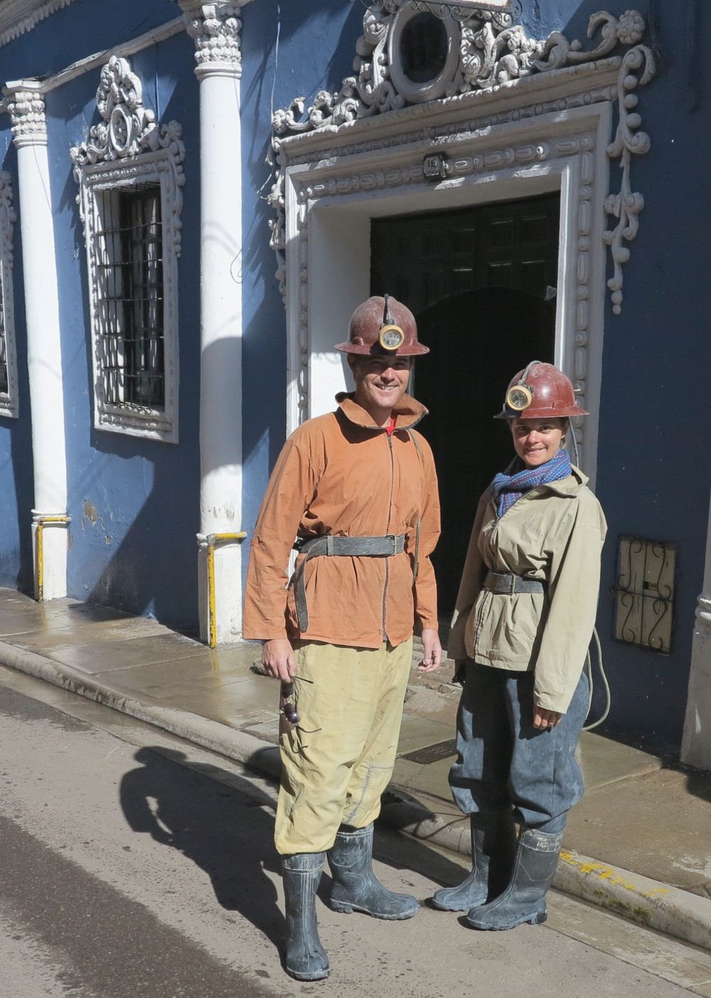Carmen and Dave mining gear Potosi mines Double-Barrelled Travel