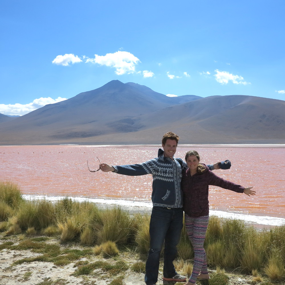 Carmen and Dave pink lagoon Bolivia Double-Barrelled Travel