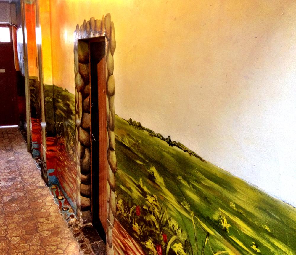 Hallway mural at Namas Te La Paz Bolivia Double-Barrelled Travel