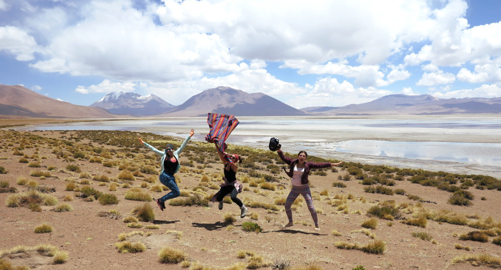 Jumping photo salt flats tour Bolivia Double-Barrelled Travel