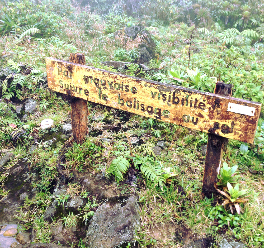 La Soufriere volcano sign Guadeloupe Double-Barrelled Travel
