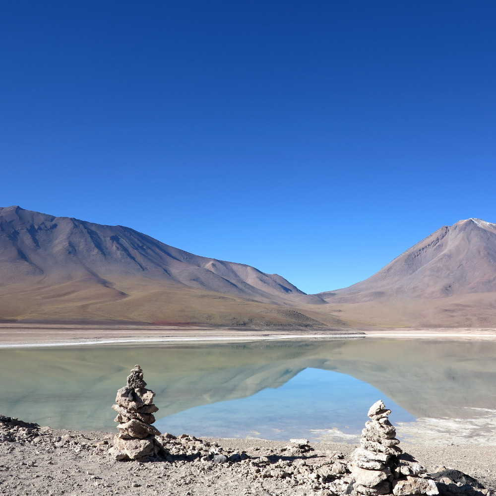 Lagoon in Bolivia salt flats tour Double-Barrelled Travel
