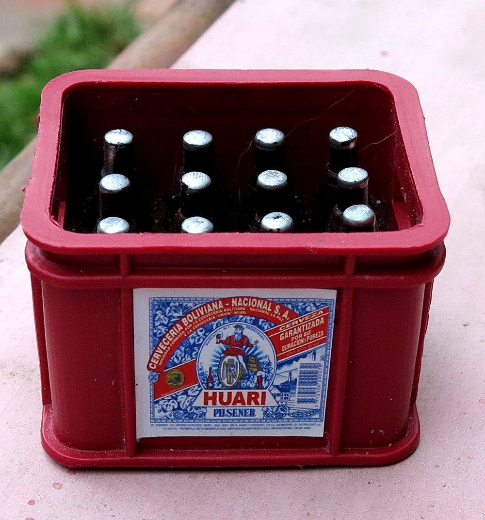 Miniature crate of beer at Alisitas La Paz Bolivia Double-Barrelled Travel