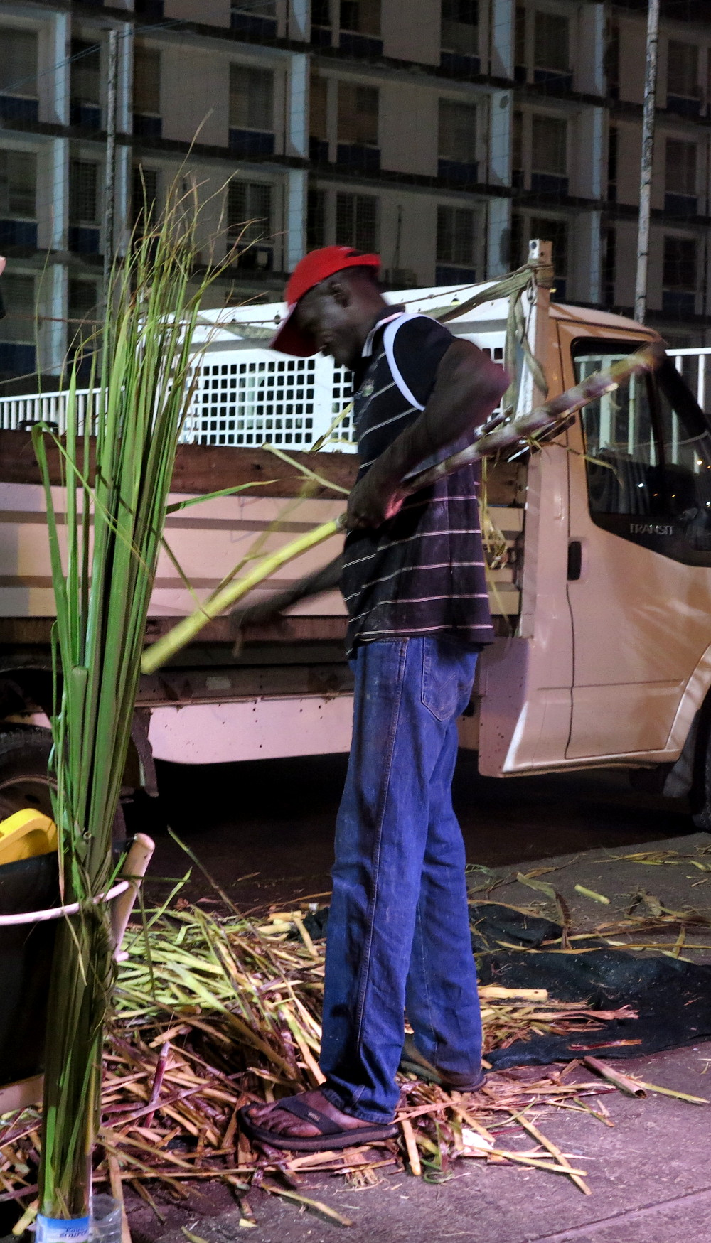 Preparing sugarcane Le Moule market Guadeloupe Double-Barrelled Travel