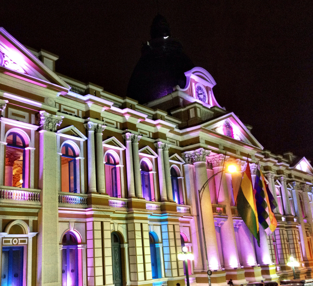 Presidents building at night La Paz Bolivia Double-Barrelled Travel