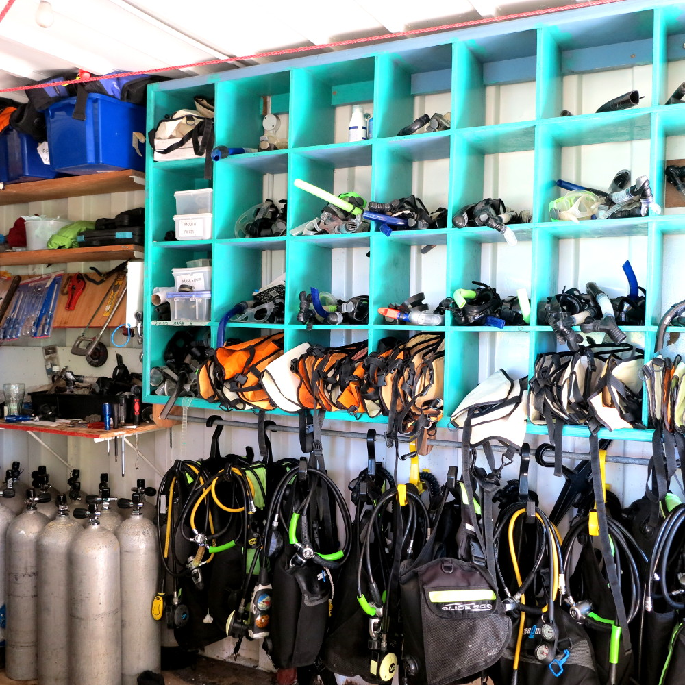 Scuba and snorkel equipment at Champagne Reef Dominica Double-Barrelled Travel