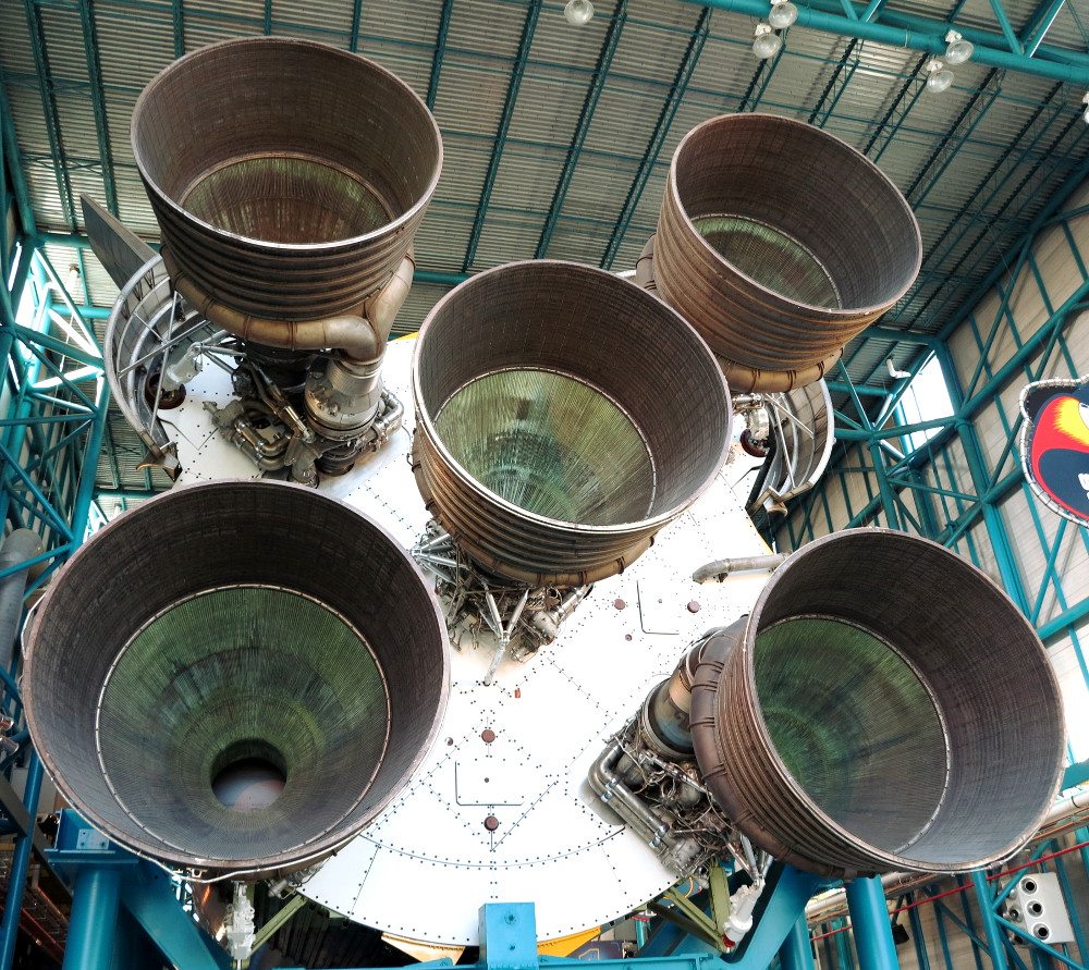 Back of the Saturn 5 rocket at NASA Double-Barrelled Travel