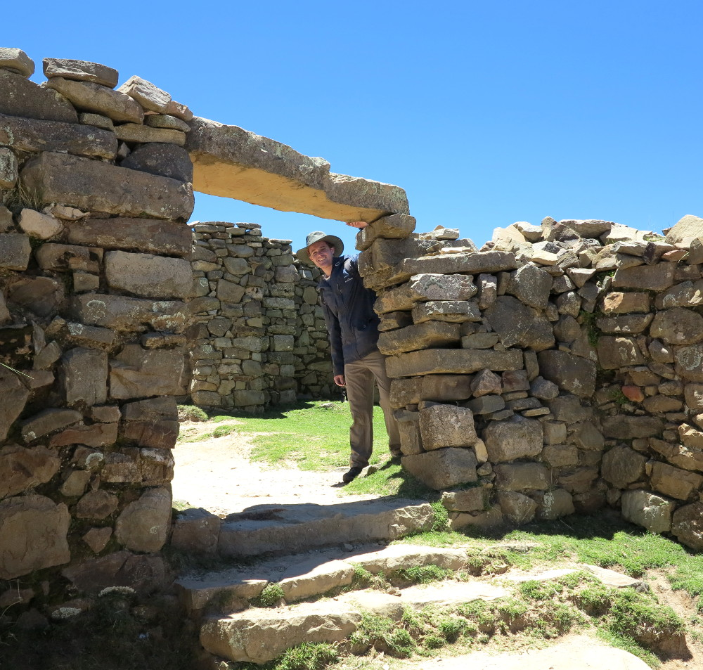 Dave in the ruins Isla del Sol Double Barrelled Travel