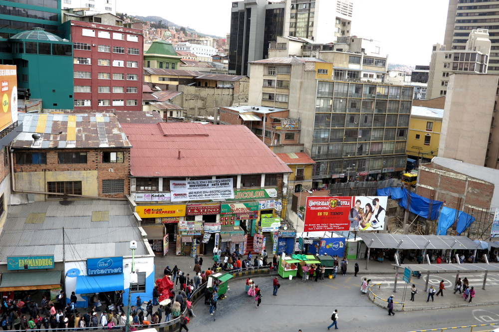 Busy bus stop La Paz Bolivia Double-Barrelled Travel