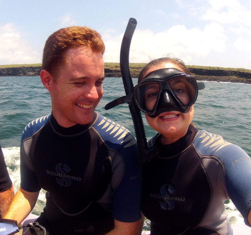 Carmen and Dave snorkelling Galapagos Double-Barrelled Travel