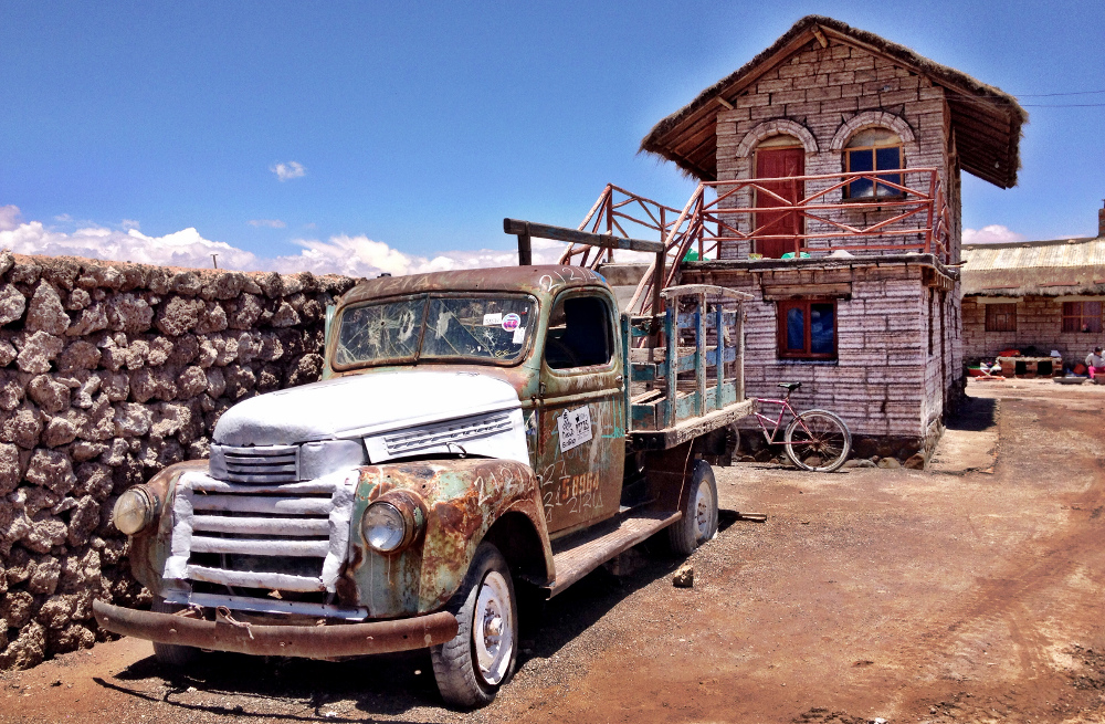 Pick up truck near Uyuni salt flats Bolivia Double-Barrelled Travel
