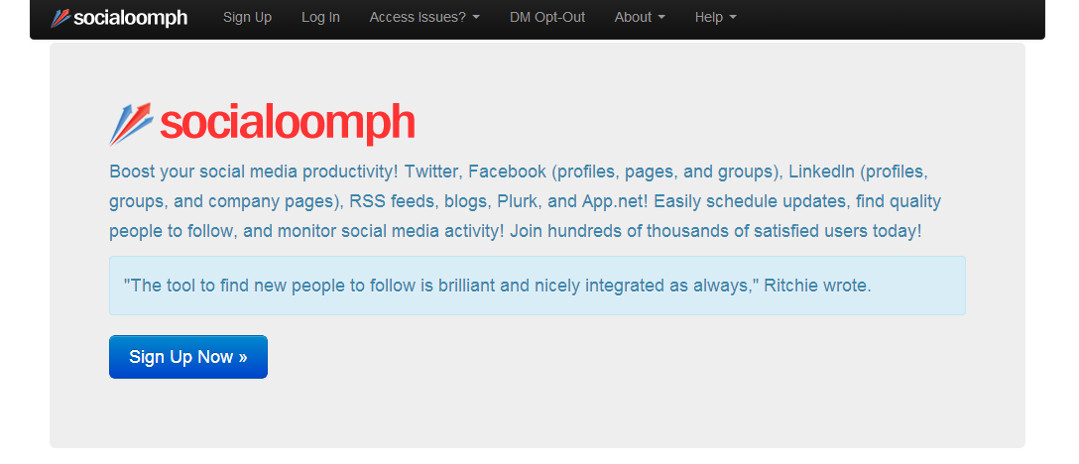 Social Oomph screen grab Red Platypus