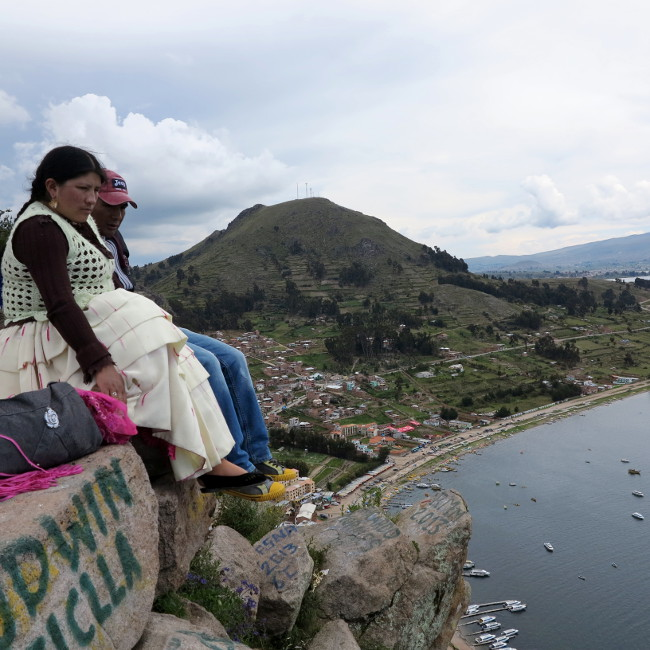 A couple overlooking Copacabana Bolivia Double-Barrelled Travel