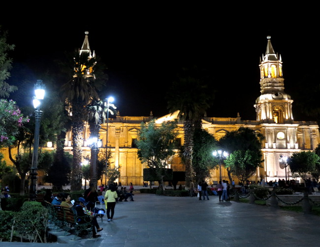 Arequipa at night Double-Barrelled Travel