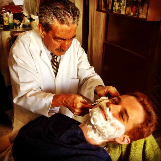 Cut throat shave in Quito Double-Barrelled Travel