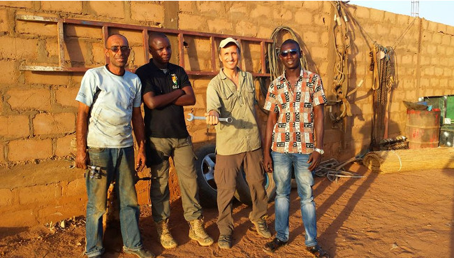 Francis in Niamey Niger with mechanics Double-Barrelled Travel