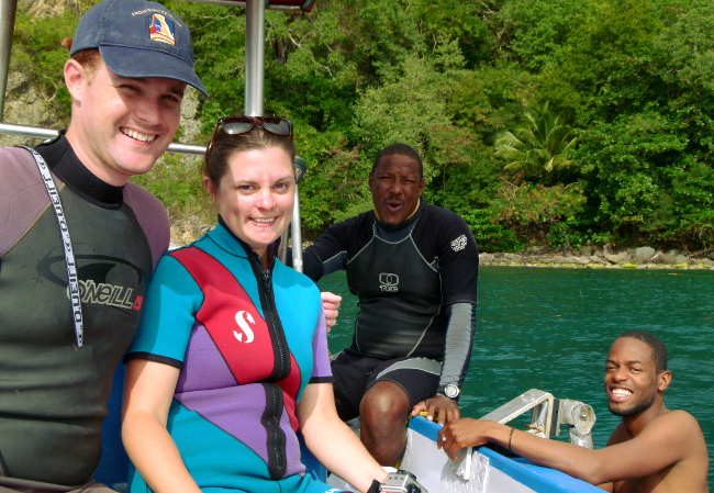 Diving boat in Dominica Double-Barrelled Travel