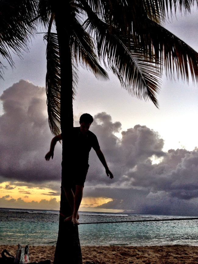 Slack lining in Guadeloupe Double-Barrelled Travel