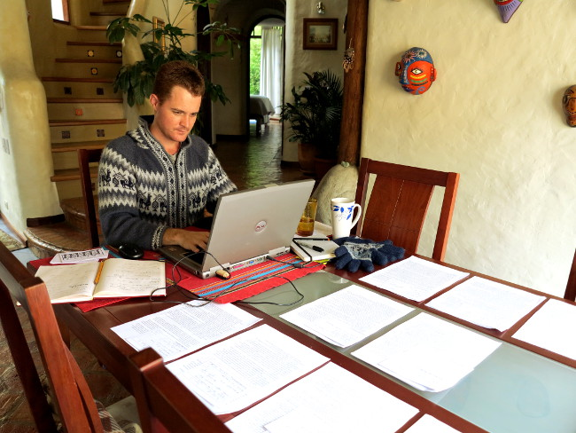 Dave working on his novel Double-Barrelled Travel
