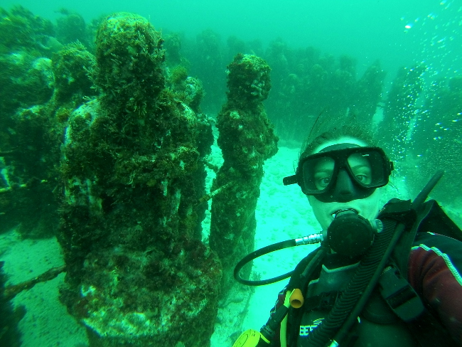 Scuba diving selfie underwater museum Cancun Mexico Double-Barrelled Travel