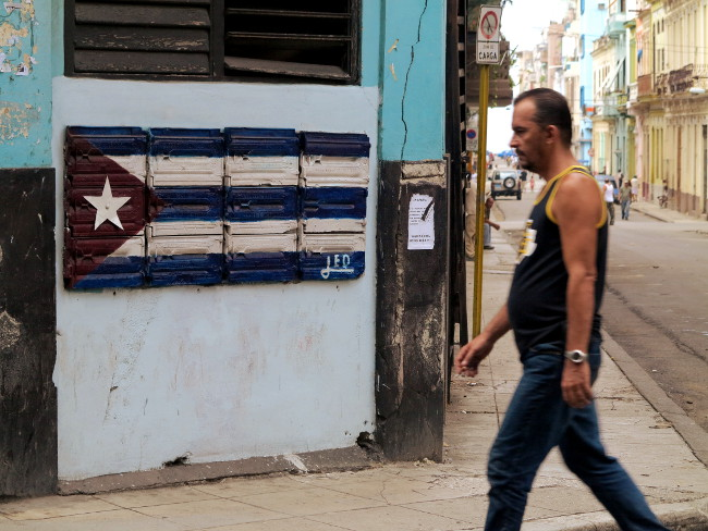 Street scene Havana flag Cuba Double-Barrelled Travel