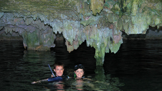 Xenotes Oasis Maya stalactites in cenote Double-Barrelled Travel