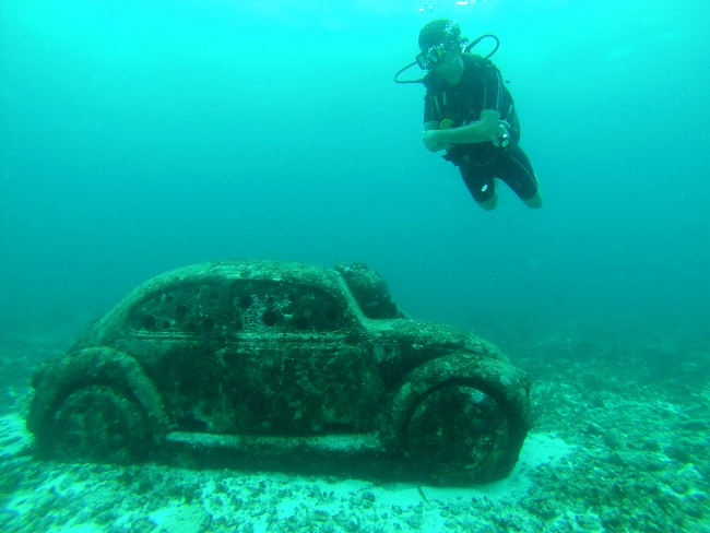 car underwater museum mexico Double-Barrelled Travel