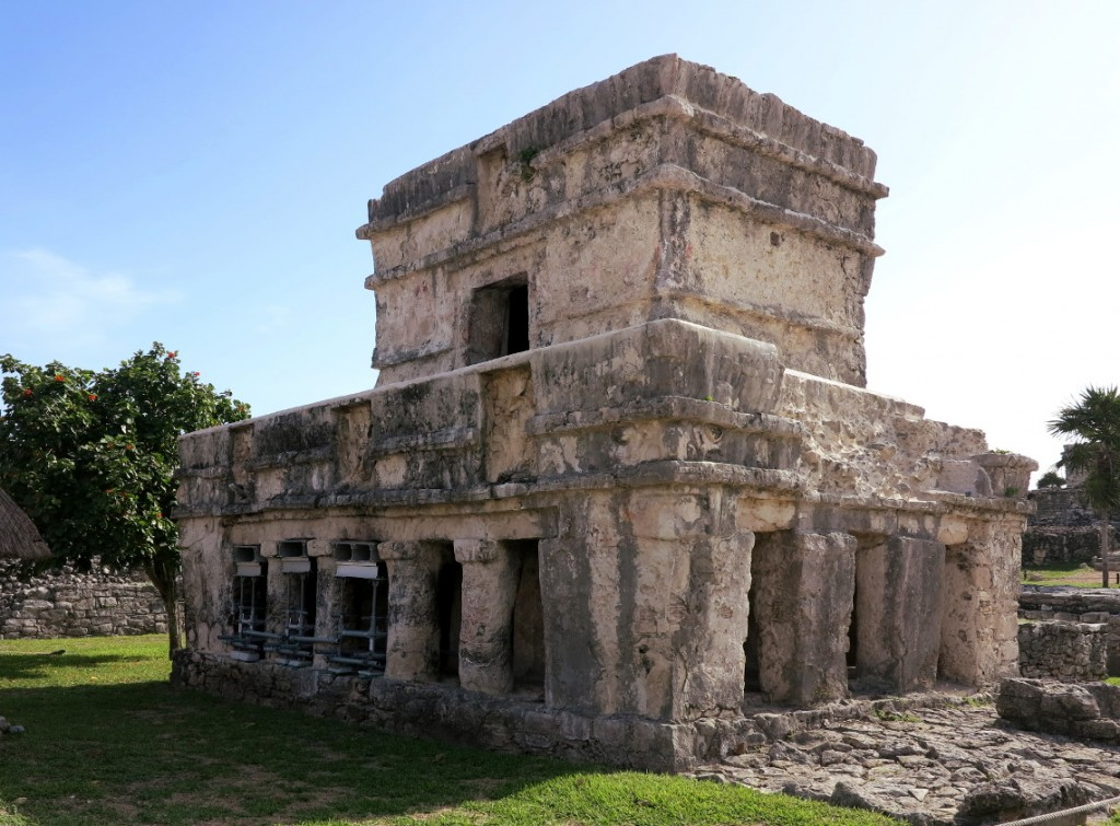 The majestic ruins of Tulum. On the top left of the building we could see painted hand prints where the builders were thought to have left their mark
