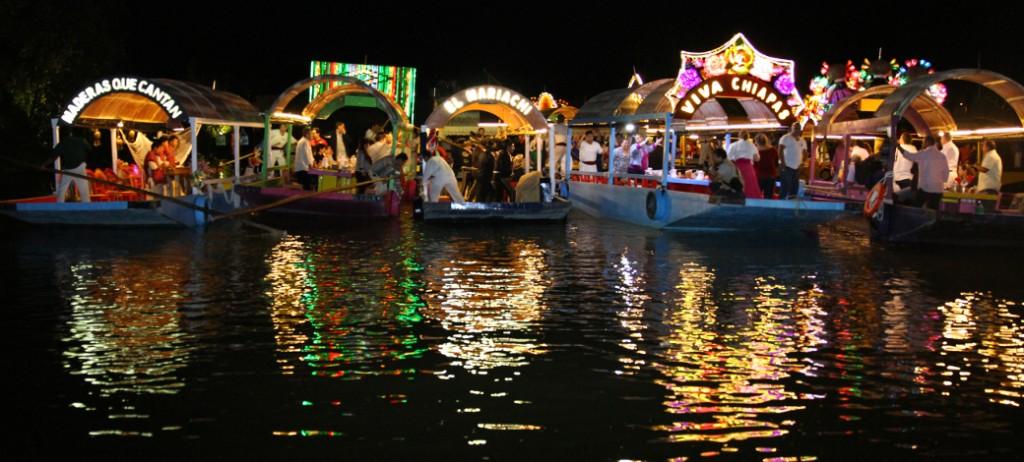 Xoximilco boats at night Double-Barrelled Travel