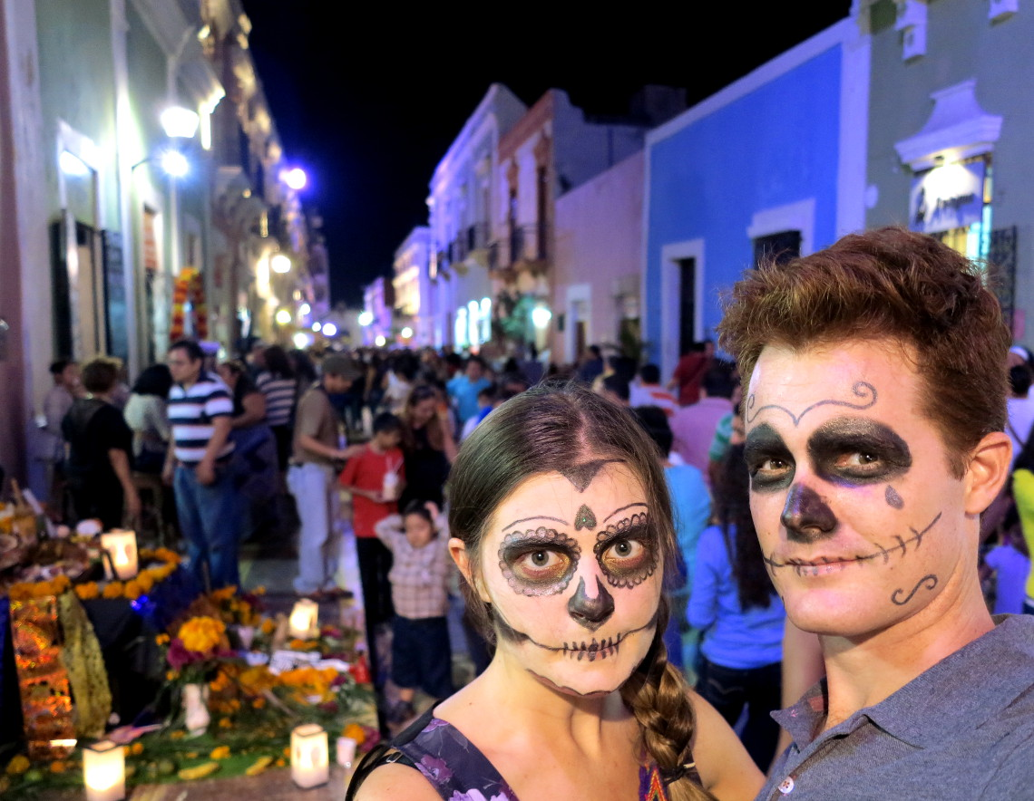 Campeche festival Carmen and Dave Mexico Day of the Dead - Double-Barrelled Travel