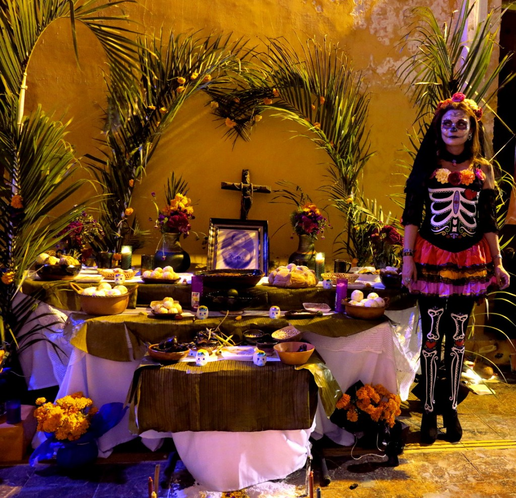 Campeche festival altar and costume Mexico Day of the Dead - Double-Barrelled Travel