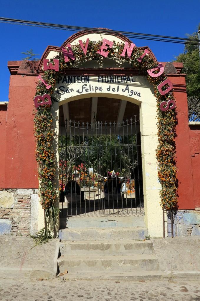 Oaxaca cemetery welcome Double-Barrelled Travel