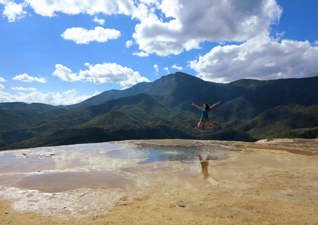 Hierve el agua Oaxaca jump Double-Barrelled Travel