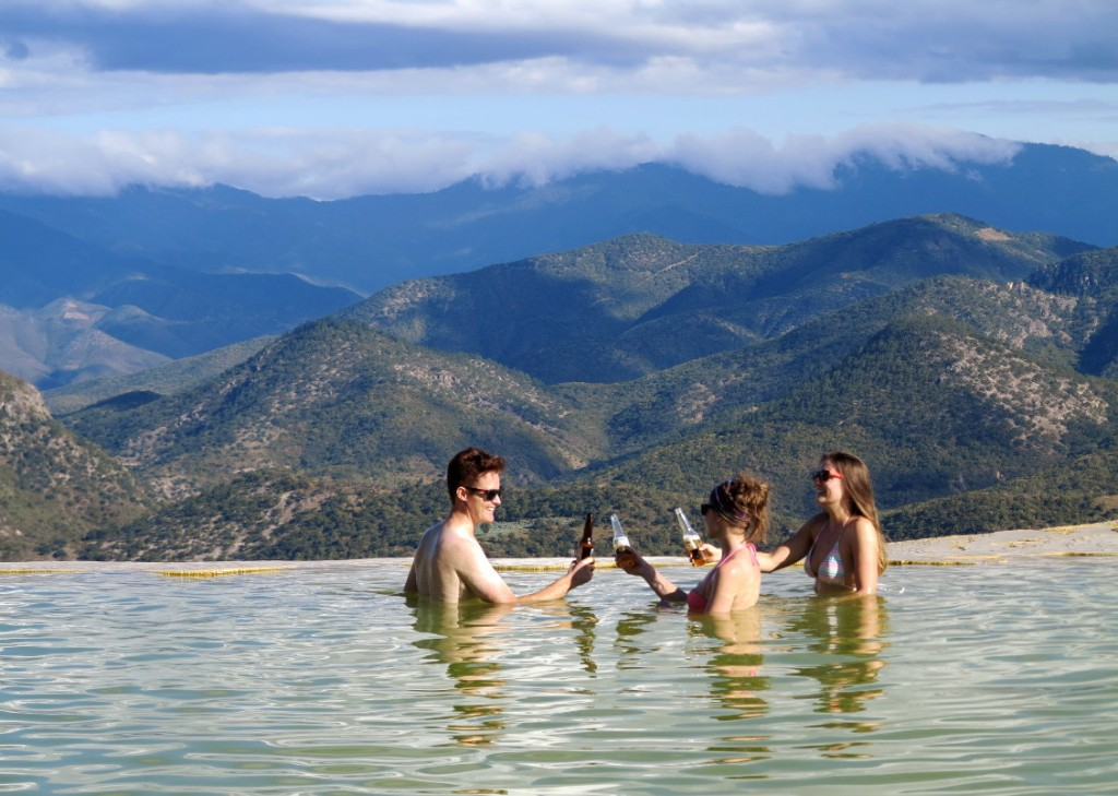 Hierve el agua pool with friends Double-Barrelled Travel