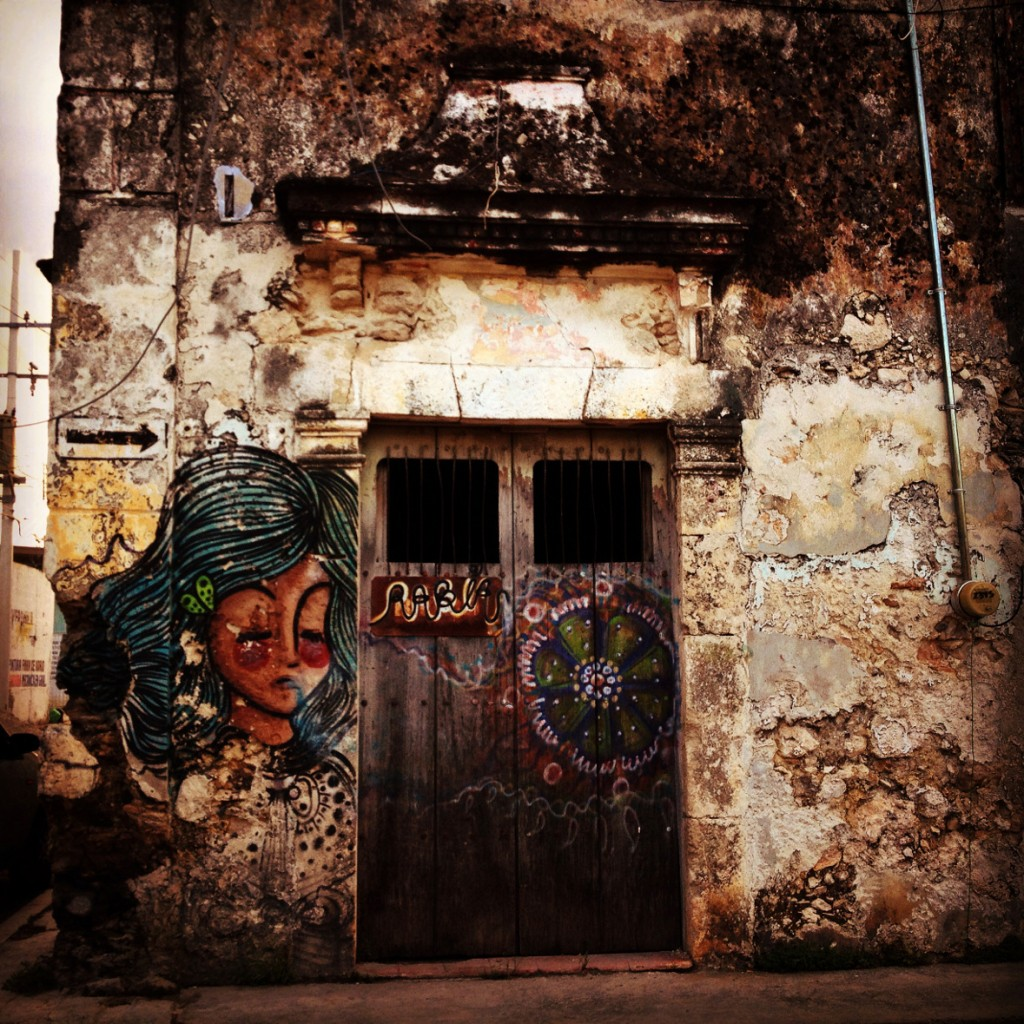 Old door and street art in Mexico Double-Barrelled Travel