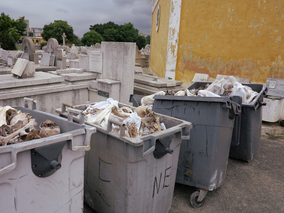 Bones in dumpsters cemetery Havana Cuba Double-Barrelled Travel