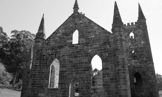 Port Arthur old church black and white Double-Barrelled Travel
