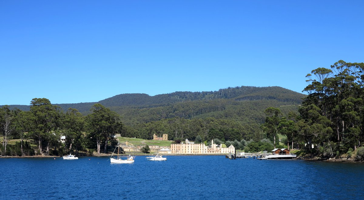 Port Arthur view from ocean Double-Barrelled Travel