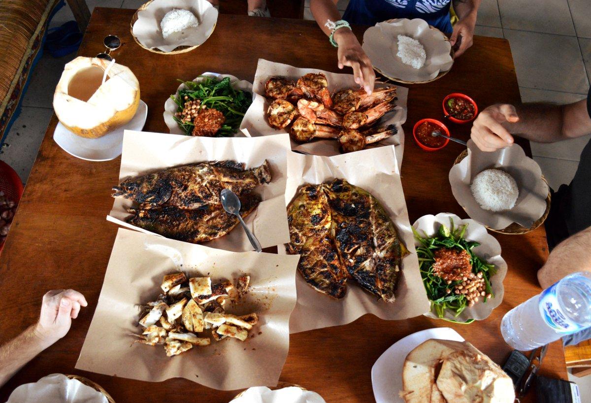 Fish feast Jimbaran fish market Bali Double-Barrelled Travel